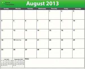 printable august 2013 calendar template