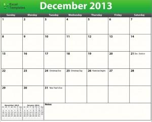 printable pdf december 2013 calendar template