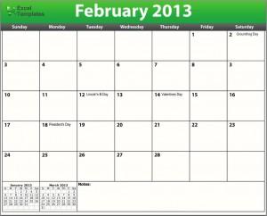 Printable PDF February 2013 Calendar