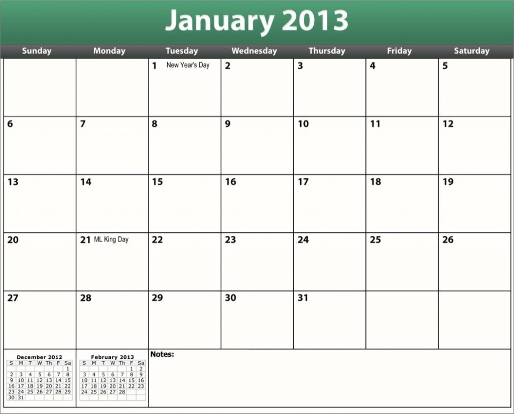 printable pdf january 2013 calendar template