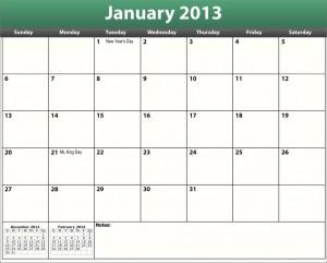 printable pdf january 2013 calendar template