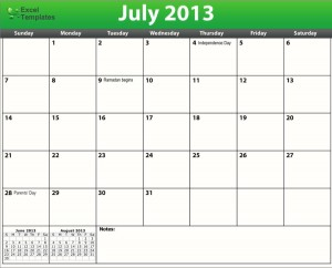Printable PDF July 2013 Calendar