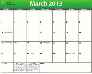 Printable PDF March 2013 Calendar