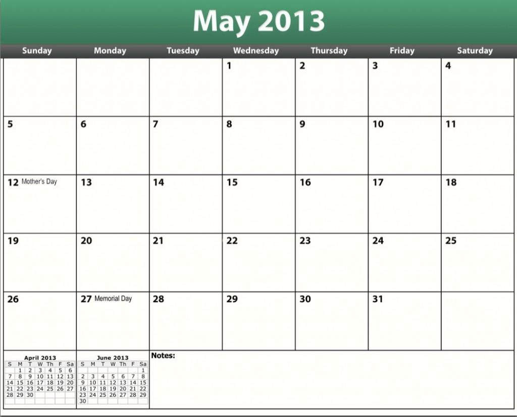 fre printable may 2013 calendar