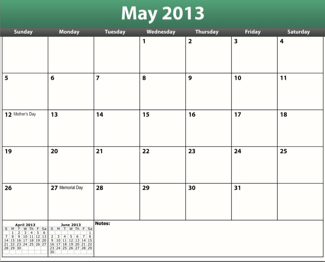 2013 Printable Calendar One Page | New Calendar Template Site