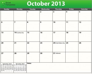 printable pdf october 2013 calendar template