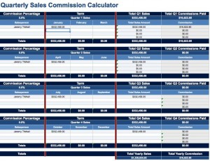 Quarterly sales commission calculator for Commission payout template