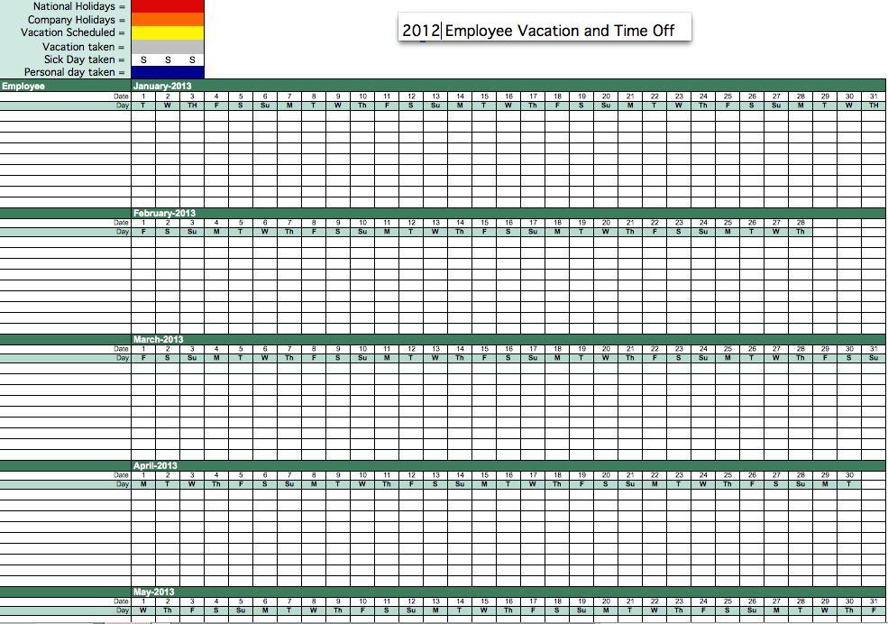 free 2012 employee attendance tracker