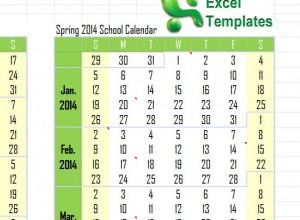 2014 Academic Calendar Template