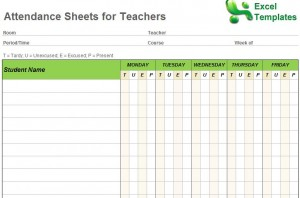 Attendance Sheets for Teachers