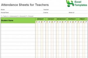 monthly attendance sheet template for teachers