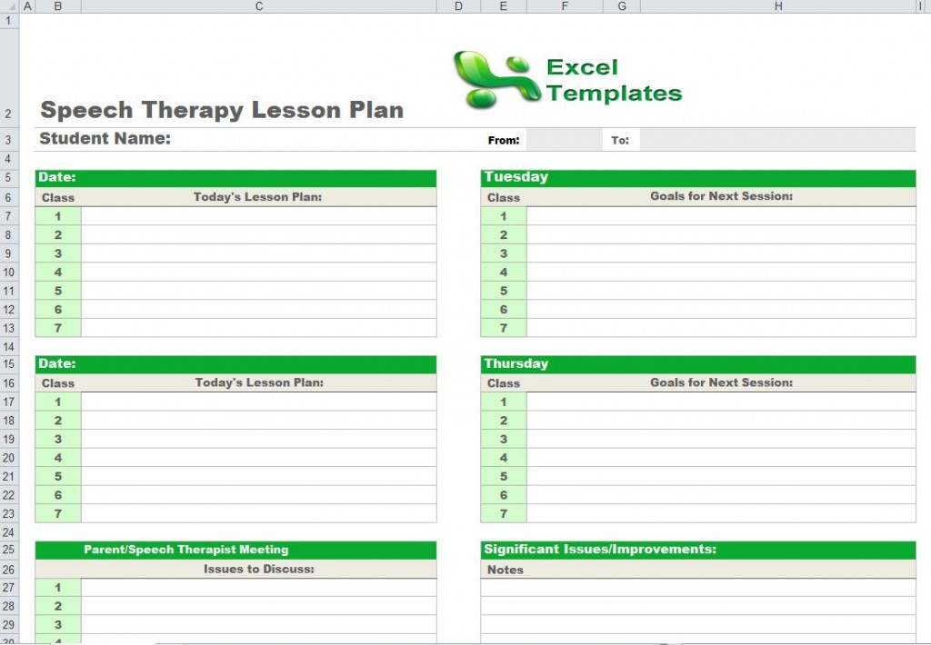 Speech Therapy Lesson Plan Template for Educators
