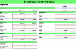 Event Budgeting Excel Template | Excel Template Event Budgeting