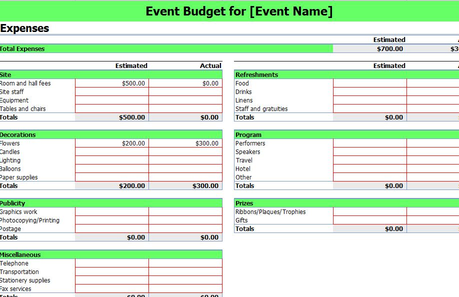 Event Budgeting Excel Template