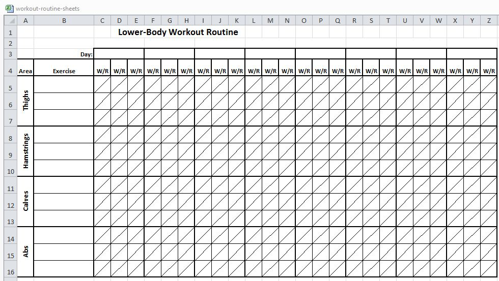 Workout Chart Excel Excel Workout Routine Sheets