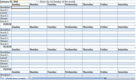 Monthly Meal Planner Template from ExcelTemplates.net