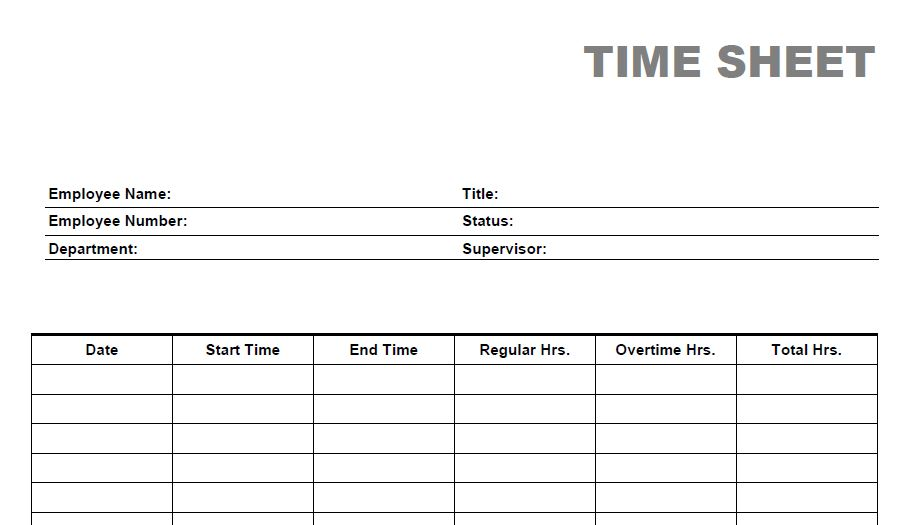 Blank Time Sheet Form  Free Printable Timesheet Template