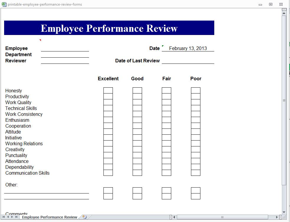 printable employee performance review forms. Black Bedroom Furniture Sets. Home Design Ideas