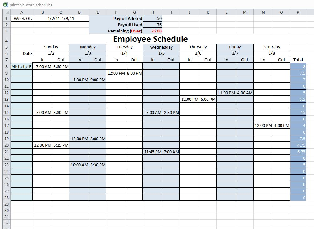 excel template for work schedule