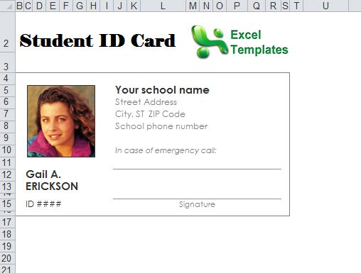 Student id card template student id card maker for School id badge template