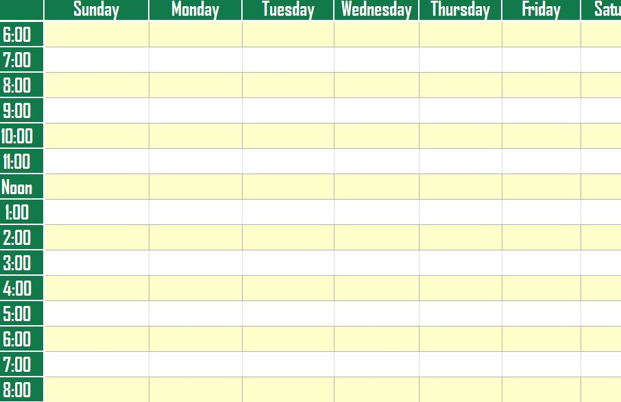 Weekly Schedule Planner Template screenshot