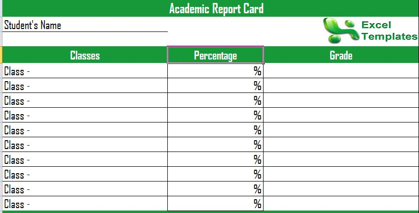 Academic Progress Report Template
