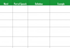 academic vocabulary template