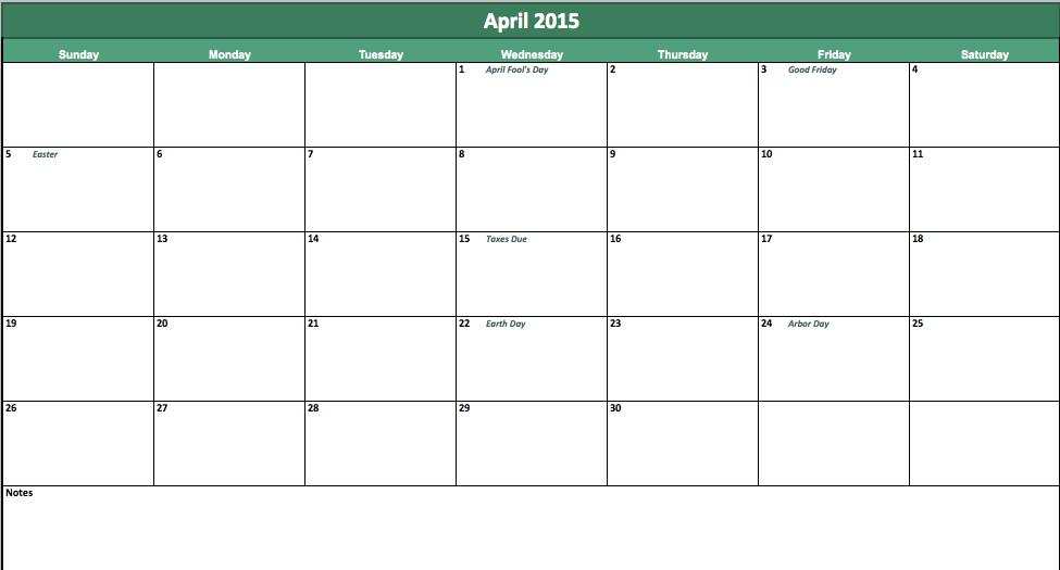 Calendar April 2015 : April calendar