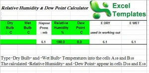 dew point calculator excel