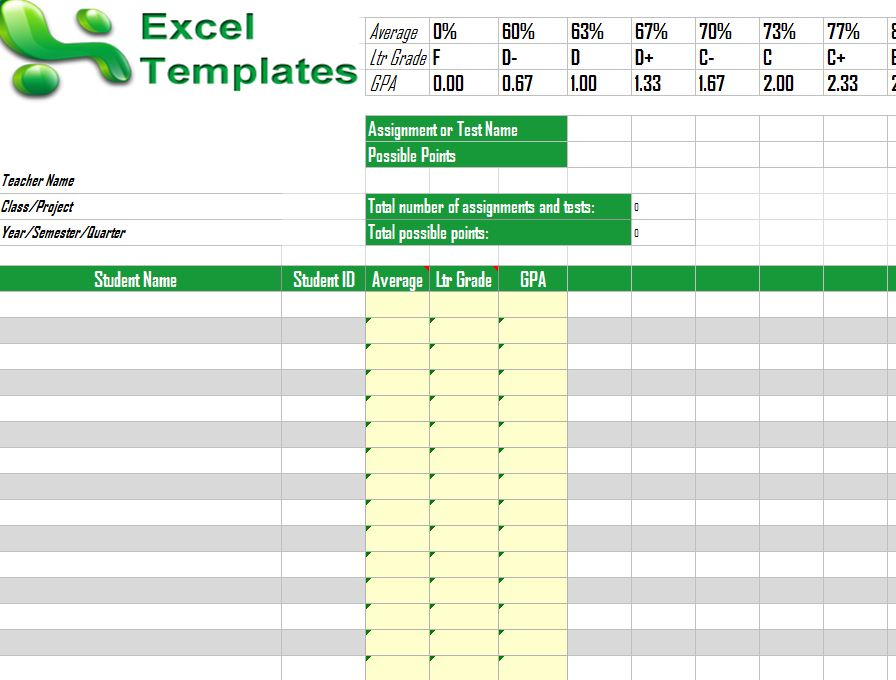 Gradebook Template | Excel Gradebook Template