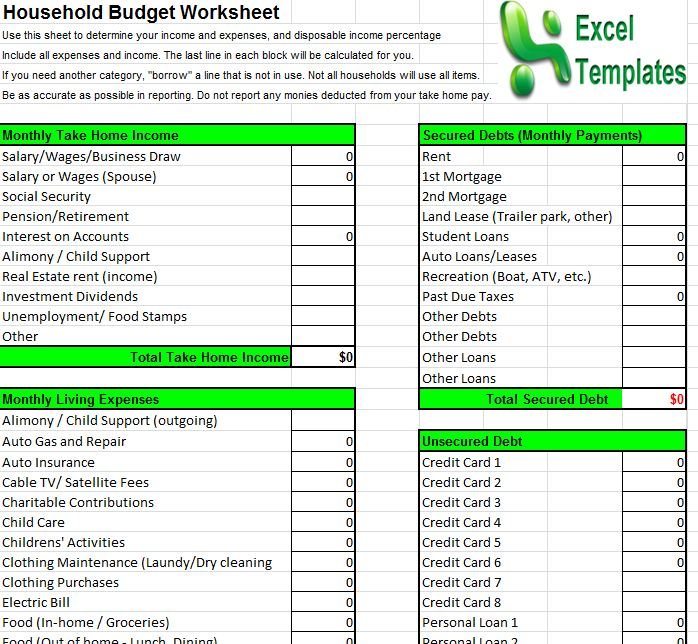 Household budget template household budget calculator for Household budget categories template