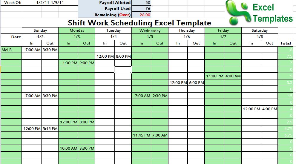 shift schedule excel template