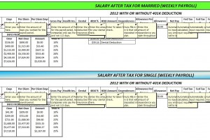 Screenshot of the Federal Tax Calculator 2012 edition.