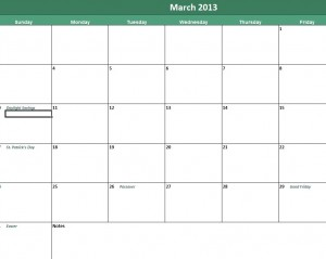Screenshot of the versatile daily calendar template