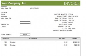 screenshot of the commercial invoice template