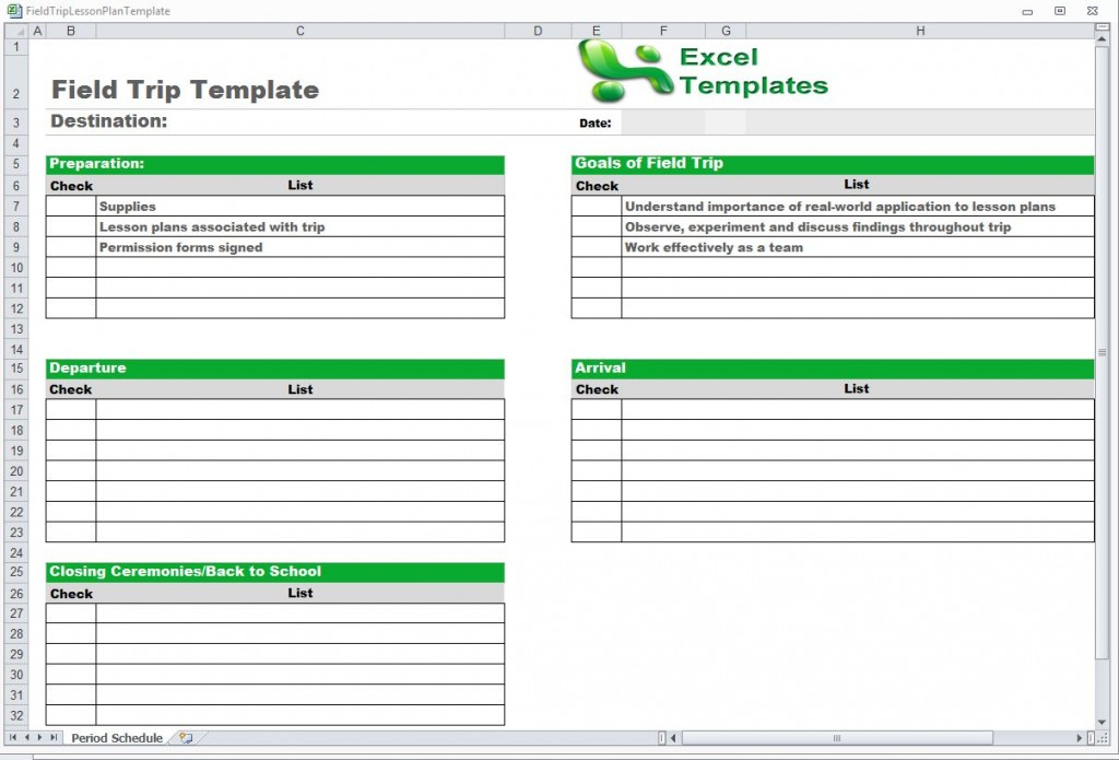 Field Trip Template from ExcelTemplates.net