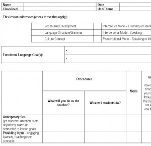 Screenshot of the Foreign Language Lesson Plan Template
