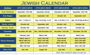 Example of a Hebrew Calendar