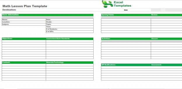 Lesson Plan Template Excel