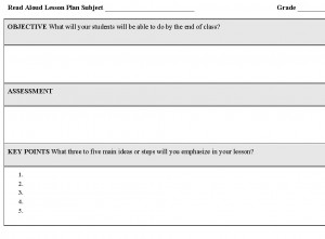 Screenshot of the Read Aloud Lesson Plan Template