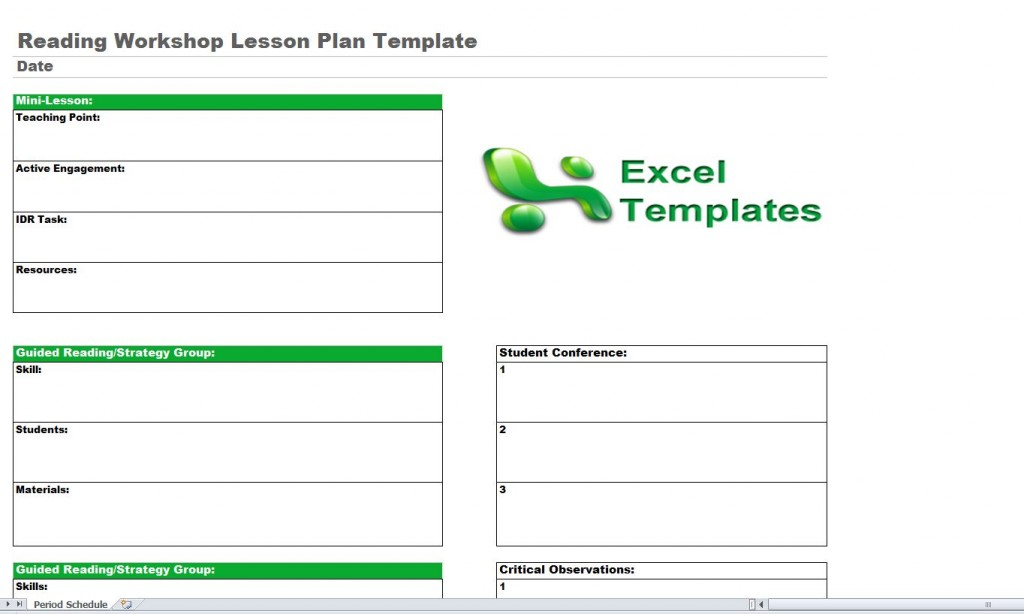 Reading Lesson Plan Template Reading Workshop Lesson Plan Template