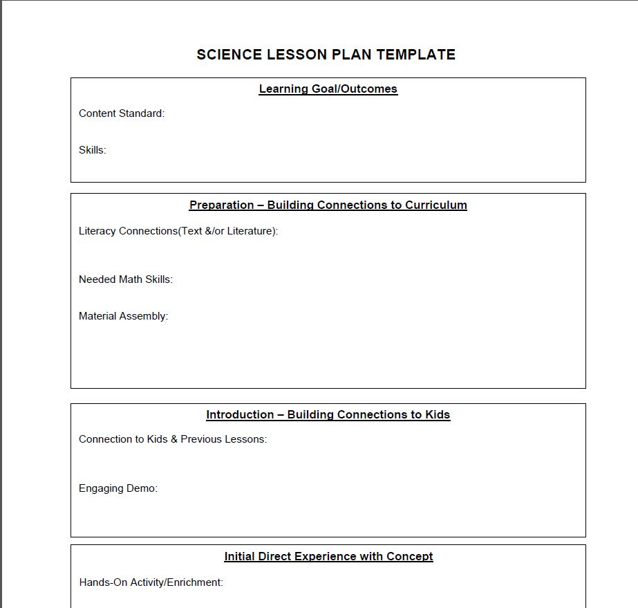 Science lesson plan template science lesson plans for Week long lesson plan template