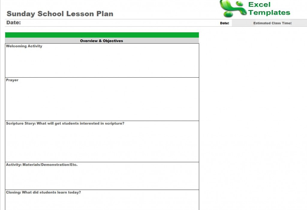 Sunday School Lesson Plan Template from ExcelTemplates.net
