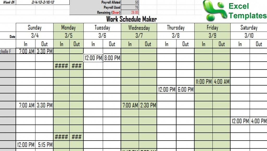 Screenshot of the work schedule maker template