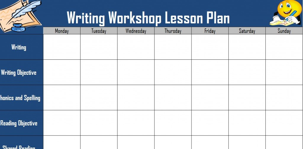 Screenshot of the Writing Workshop Lesson Plan