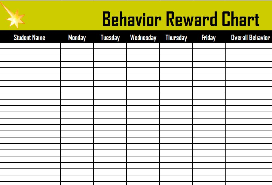Behavior Reward Chart Reward Chart For Kids