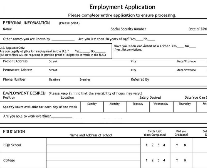 blank job application form template