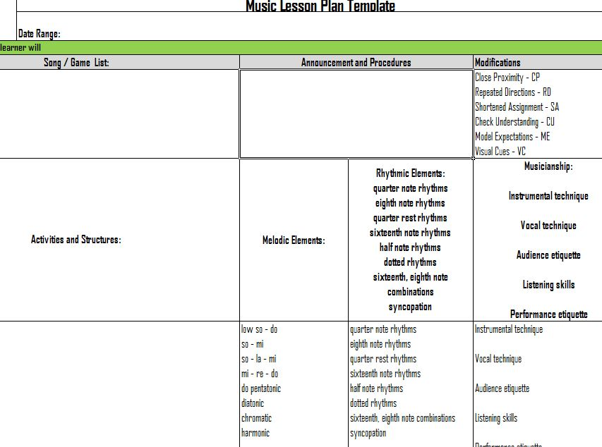 Music Lesson Plan Template | Music Lesson Plans