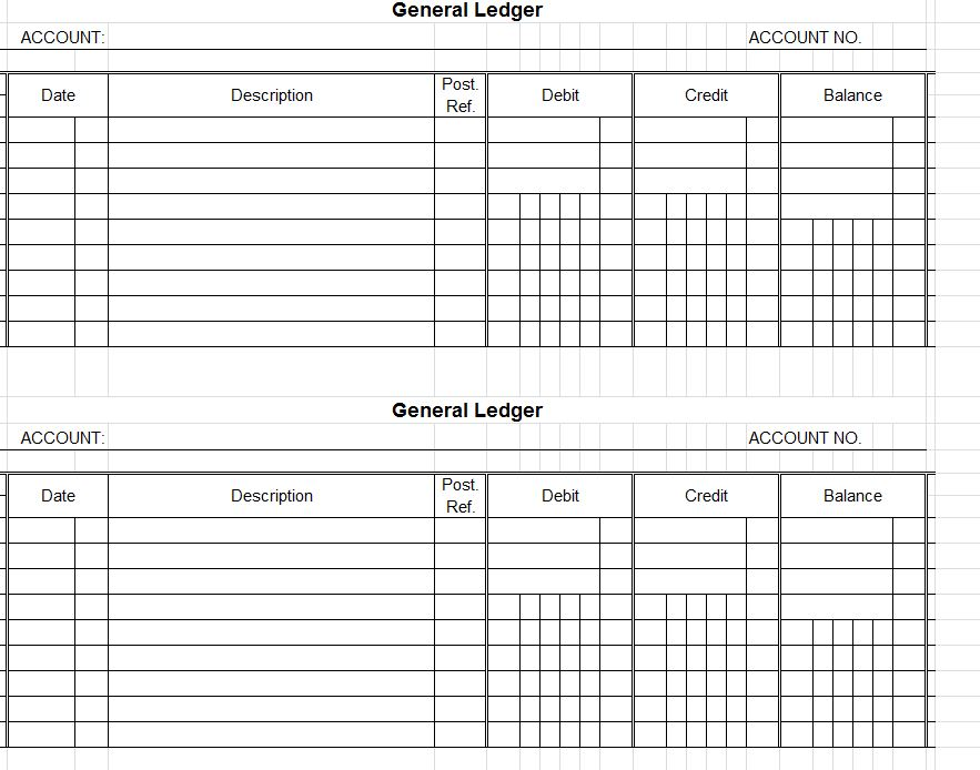 screenshot of the Accounting Ledger Template