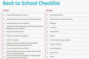 Screenshot of the Back to School Checklist